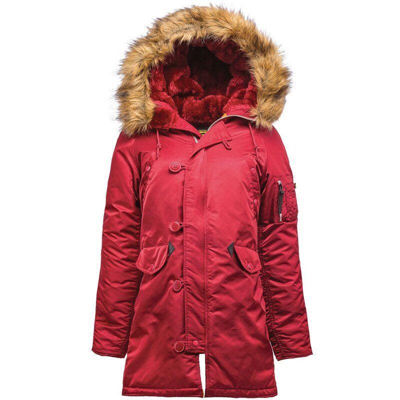 Женская зимняя куртка аляска Alpha Industries N-3B W Parka (Commander Red) Klost