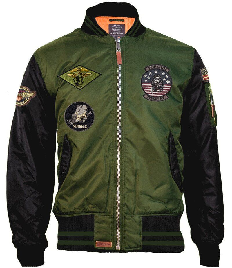 Бомбер Top Gun MA-1 Color Block Bomber Jacket (Olive/Black) Klost