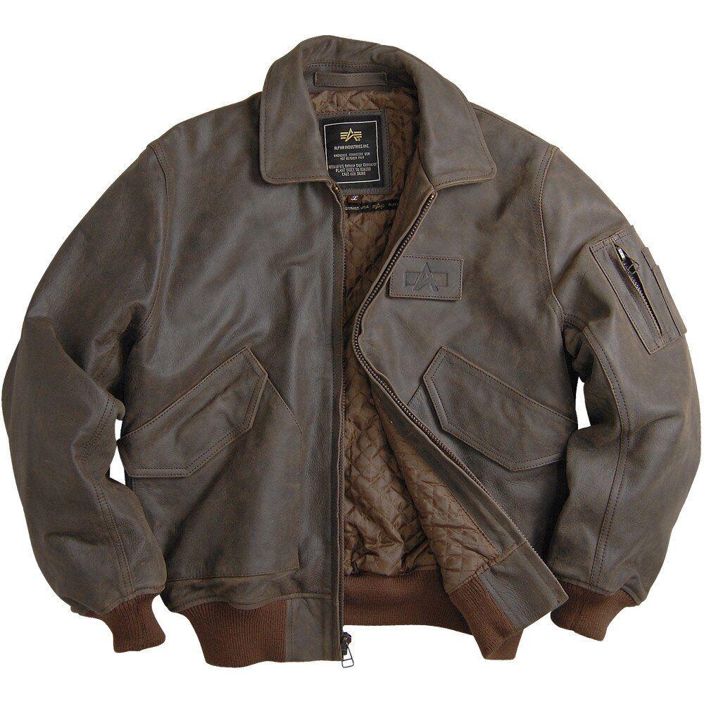 Оригинальная кожаная лётная куртка Alpha Industries (Brown) Klost