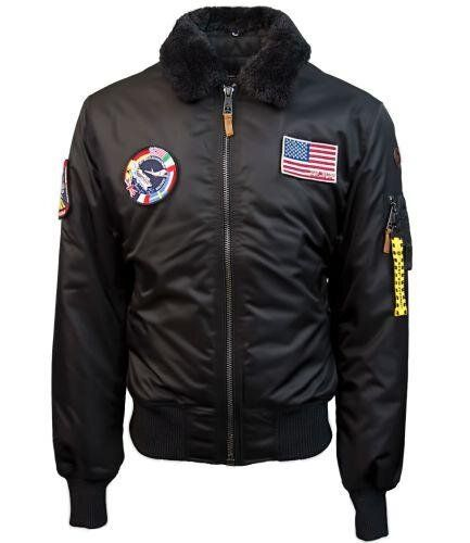 Бомбер Top Gun B-15 Nylon Bomber Jacket With Removable Patches (Black) Klost