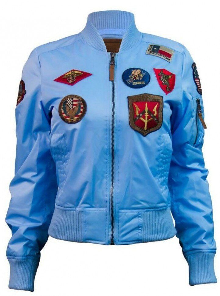Женский бомбер Miss Top Gun MA-1 jacket with patches (Light Blue) Klost