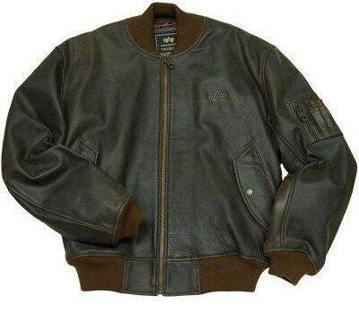 Летная куртка Leather MA-1 Flight Jacket Alpha Industries (Brown) Klost