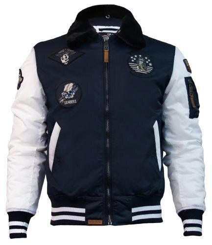 Бомбер Top Gun MA-1 Color Block Bomber Jacket With Fur & Patches (Navy/White) Klost