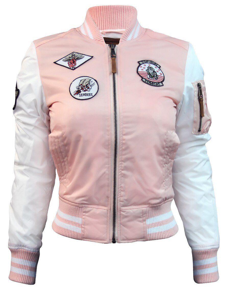 Оригинальный женский бомбер Miss Top Gun Color Block Ma-1 (Light Pink) Klost