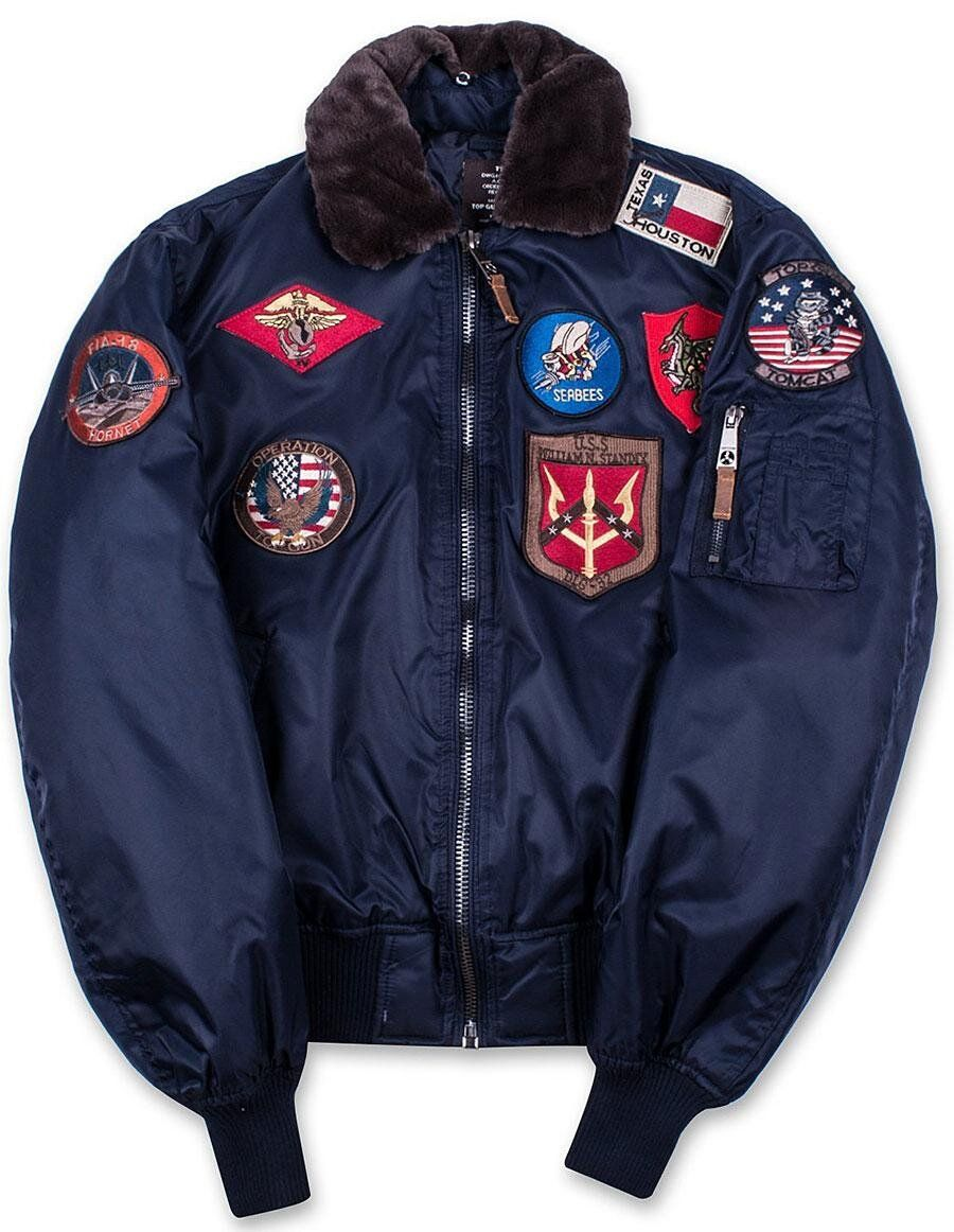 Бомбер Top Gun Official B-15 Men's Flight Bomber Jacket With Patches (Navy) Klost