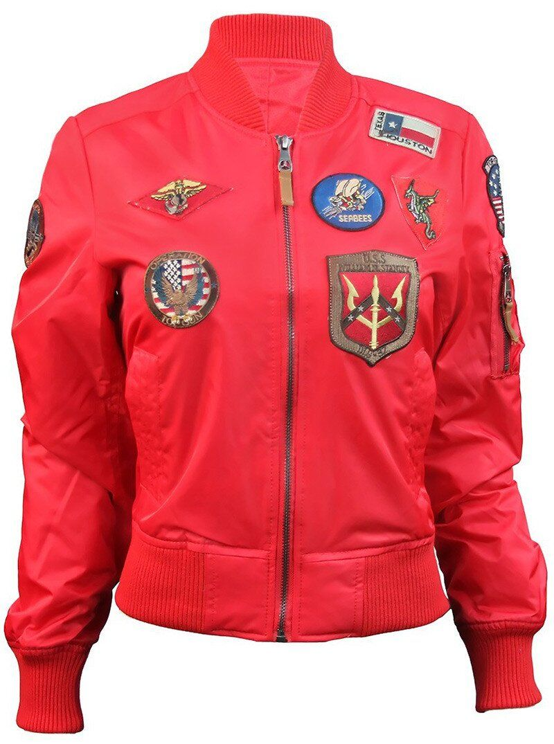 Оригинальный женский бомбер Miss Top Gun MA-1 jacket with patches (Red) Klost