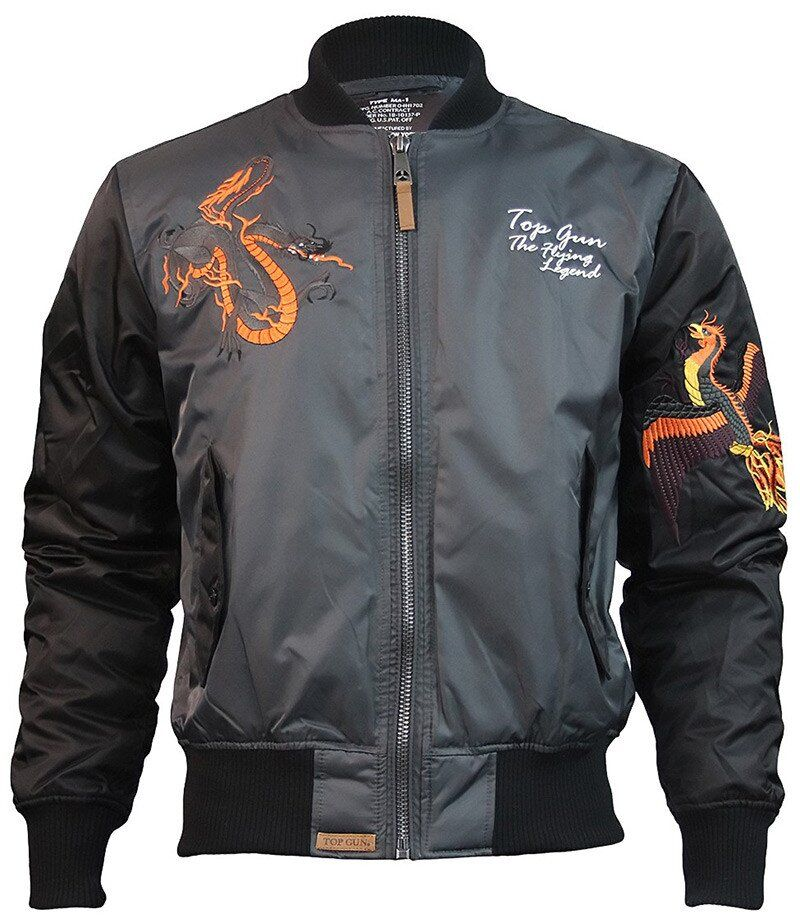 Оригинальный бомбер Top Gun The Flying Legend Bomber Jacket (Charcoal) Klost