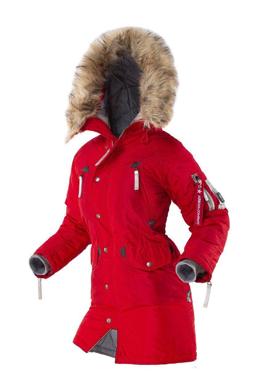 Оригинальная женская куртка аляска AIRBOSS N-3B Vega (красный металлик) Klost